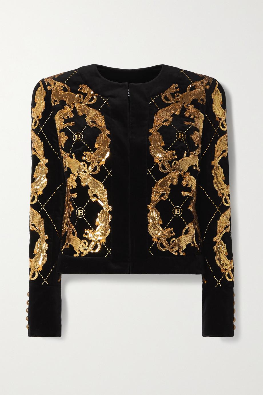 Balmain Jacke aus besticktem Baumwollsamt mit Pailletten