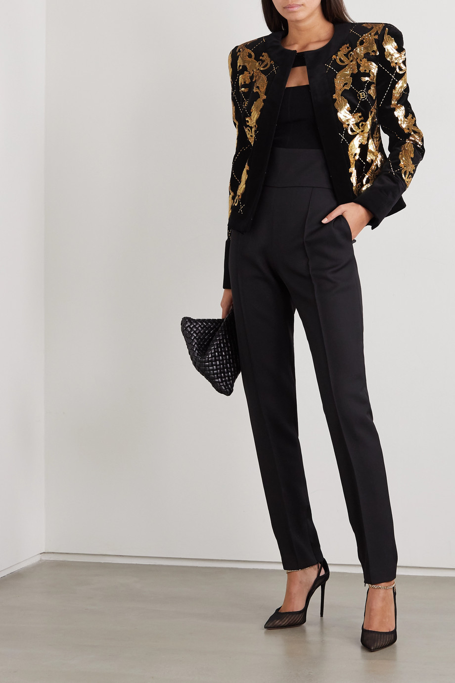 Balmain Sequined embroidered cotton-velvet jacket