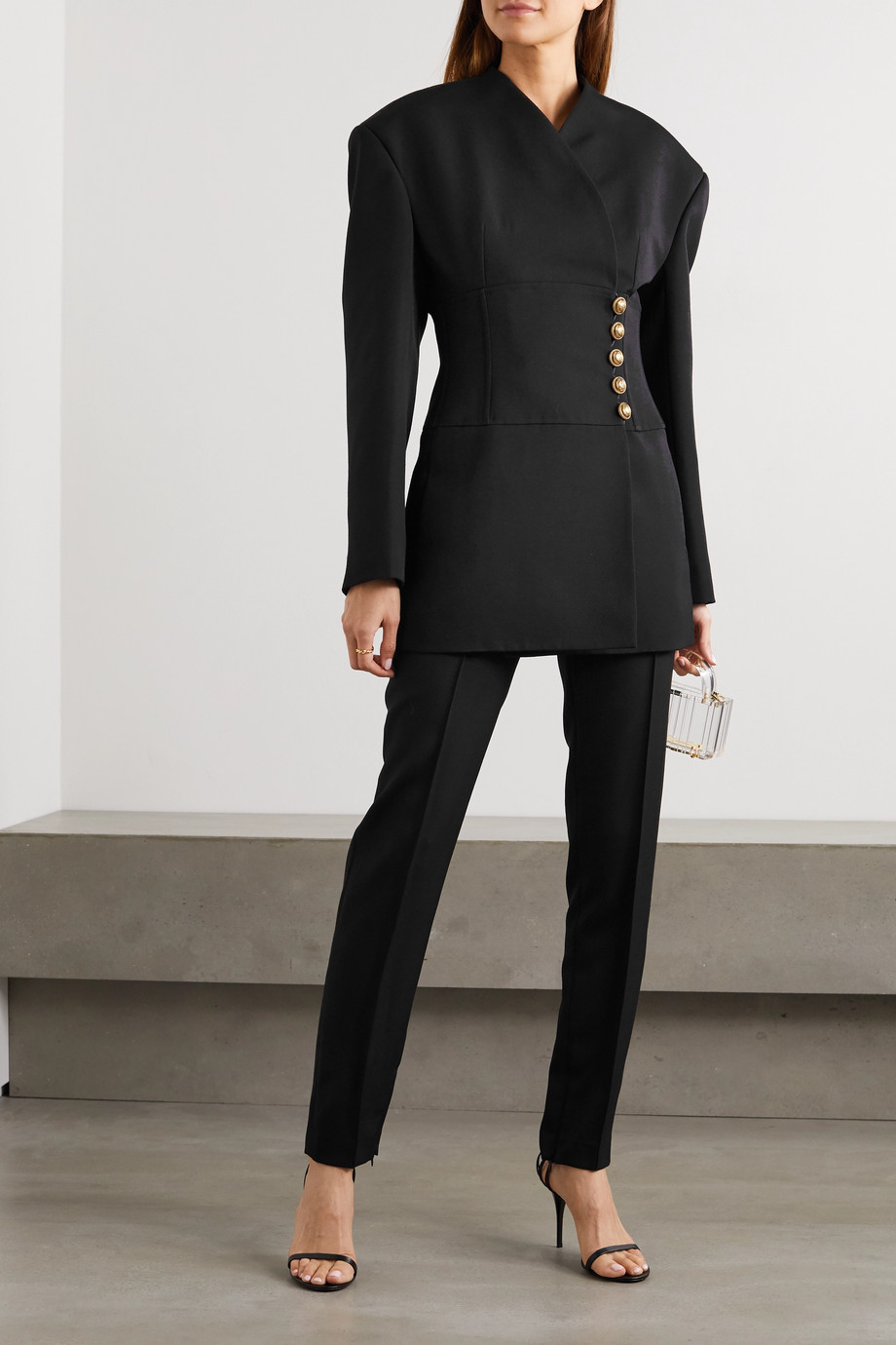 Balmain Button-embellished wool-crepe wrap blazer