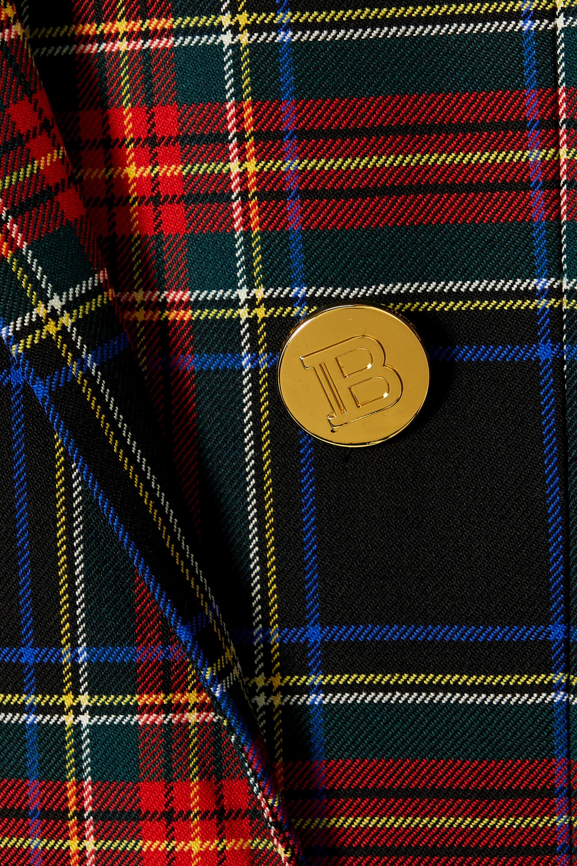 Balmain 双排扣缀饰格纹初剪羊毛混纺西装外套
