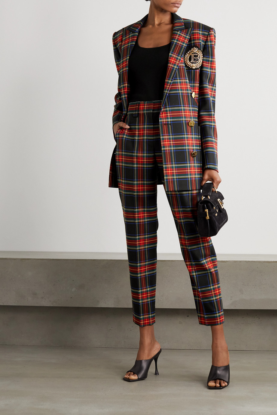 Balmain Double-breasted button-embellished checked virgin wool-blend blazer