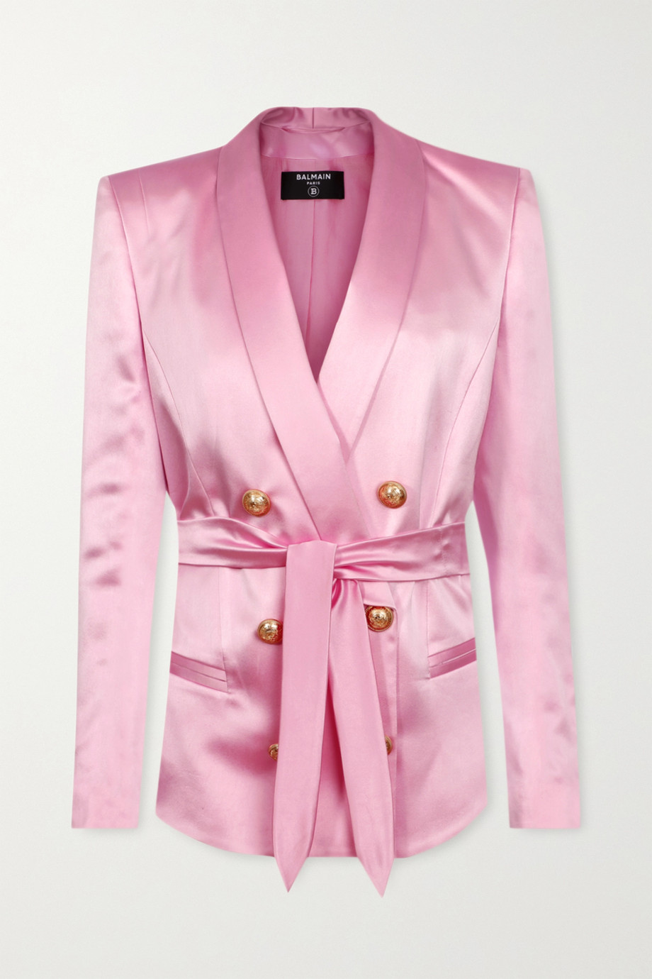 Balmain Belted double-breasted silk-satin blazer