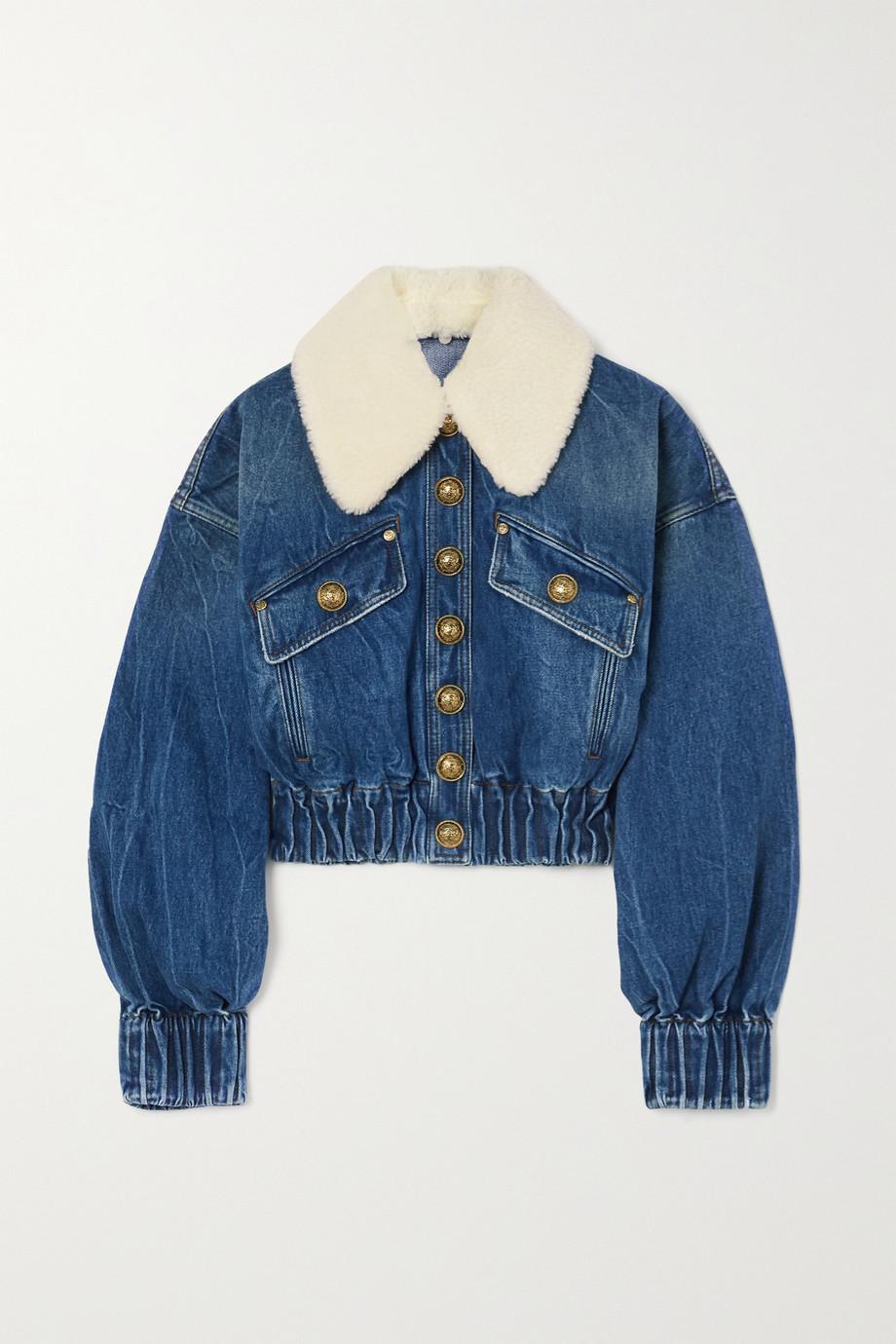 Balmain Faux shearling-trimmed denim jacket