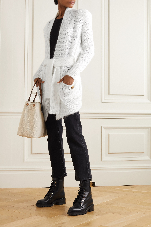 Balmain Belted open-knit mohair-blend cardigan