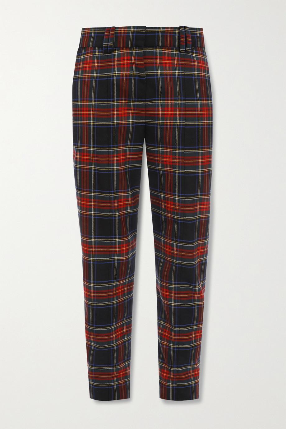 Balmain Hose mit schmalem Bein aus einer karierten Wollmischung