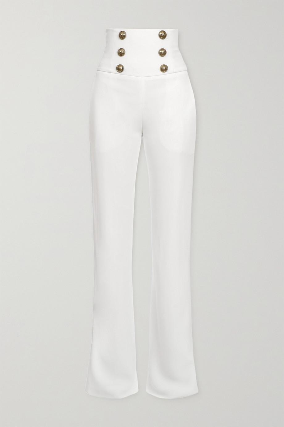 Balmain Pantalon large en crêpe à boutons