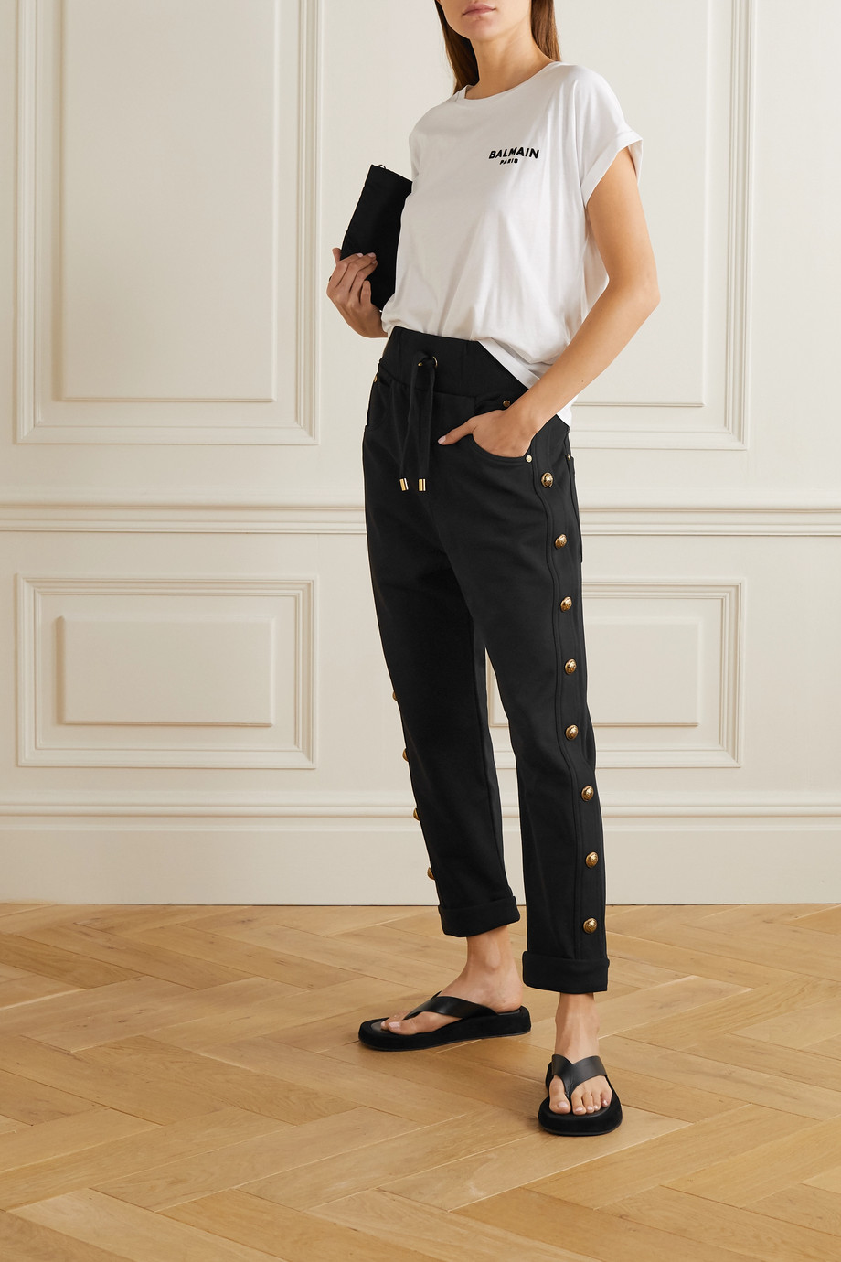 Balmain Button-embellished cotton-jersey track pants