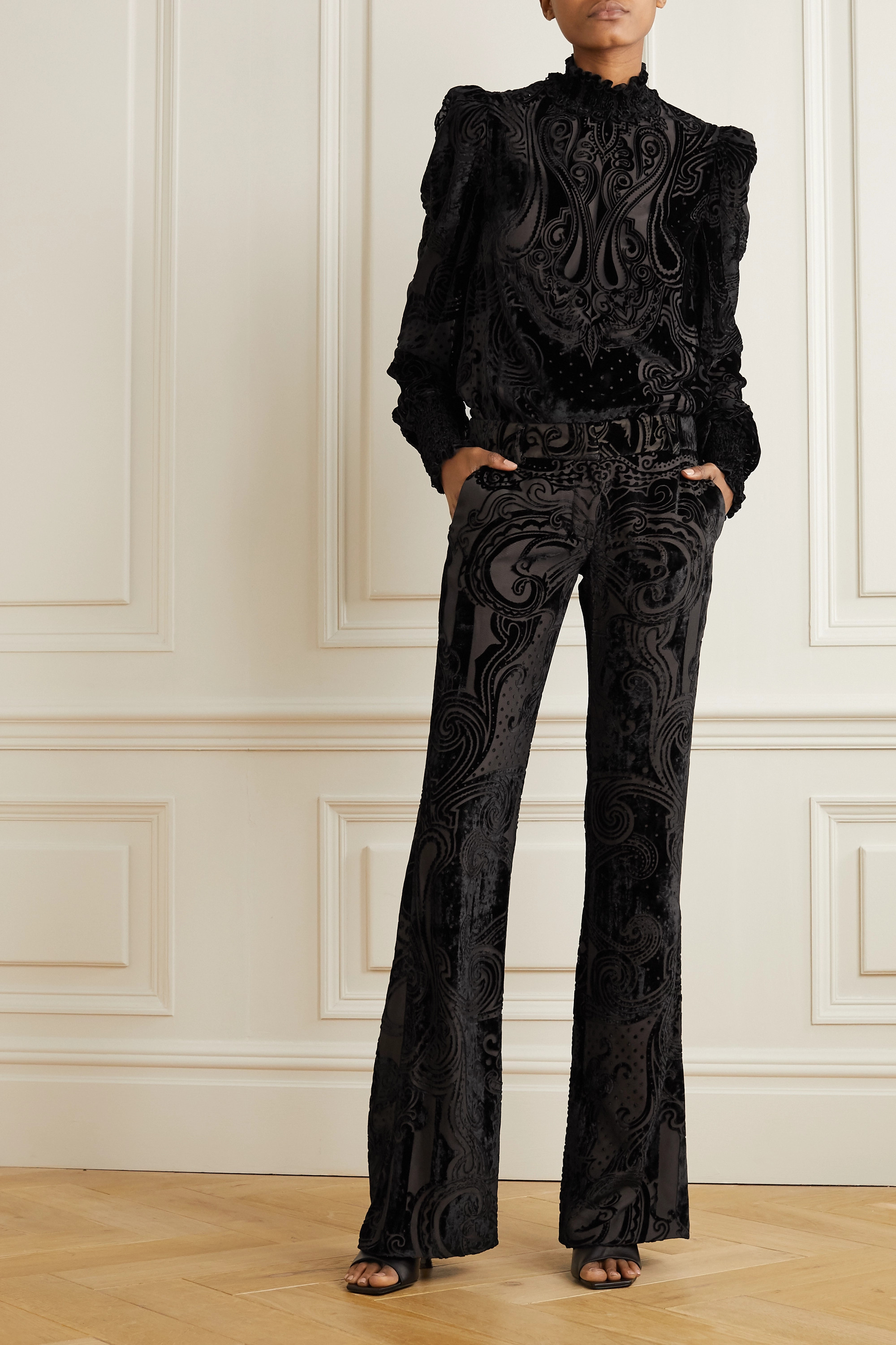 Balmain Devoré-chiffon flared pants