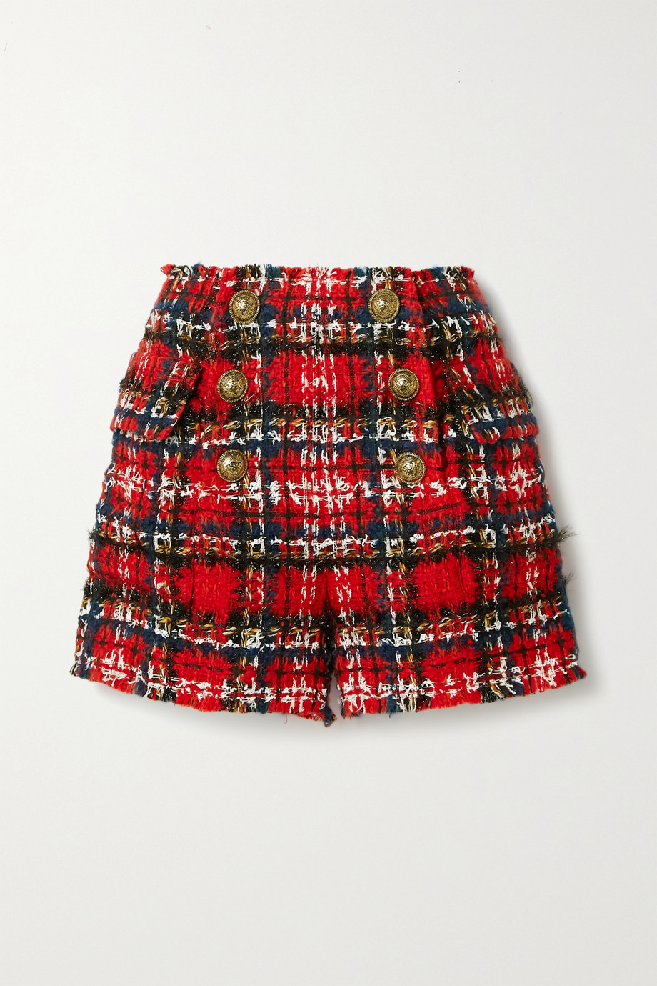 Balmain Frayed checked tweed shorts