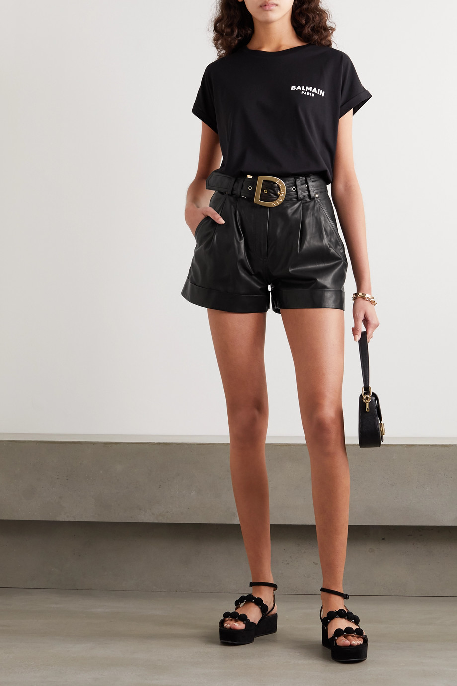 Balmain Belted leather shorts