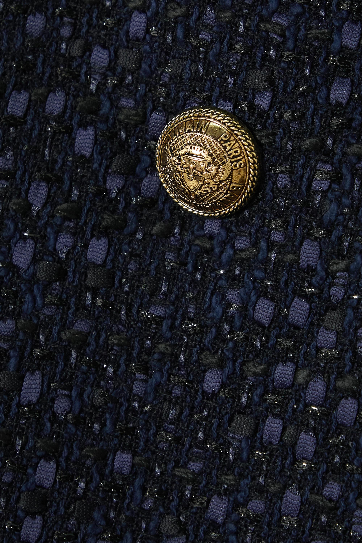 Balmain Button-embellished asymmetric tweed mini skirt