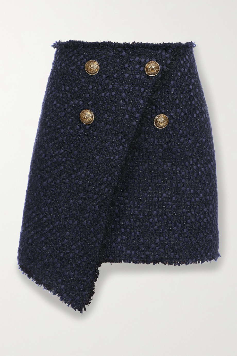 Balmain Button-embellished asymmetric tweed mini skirt