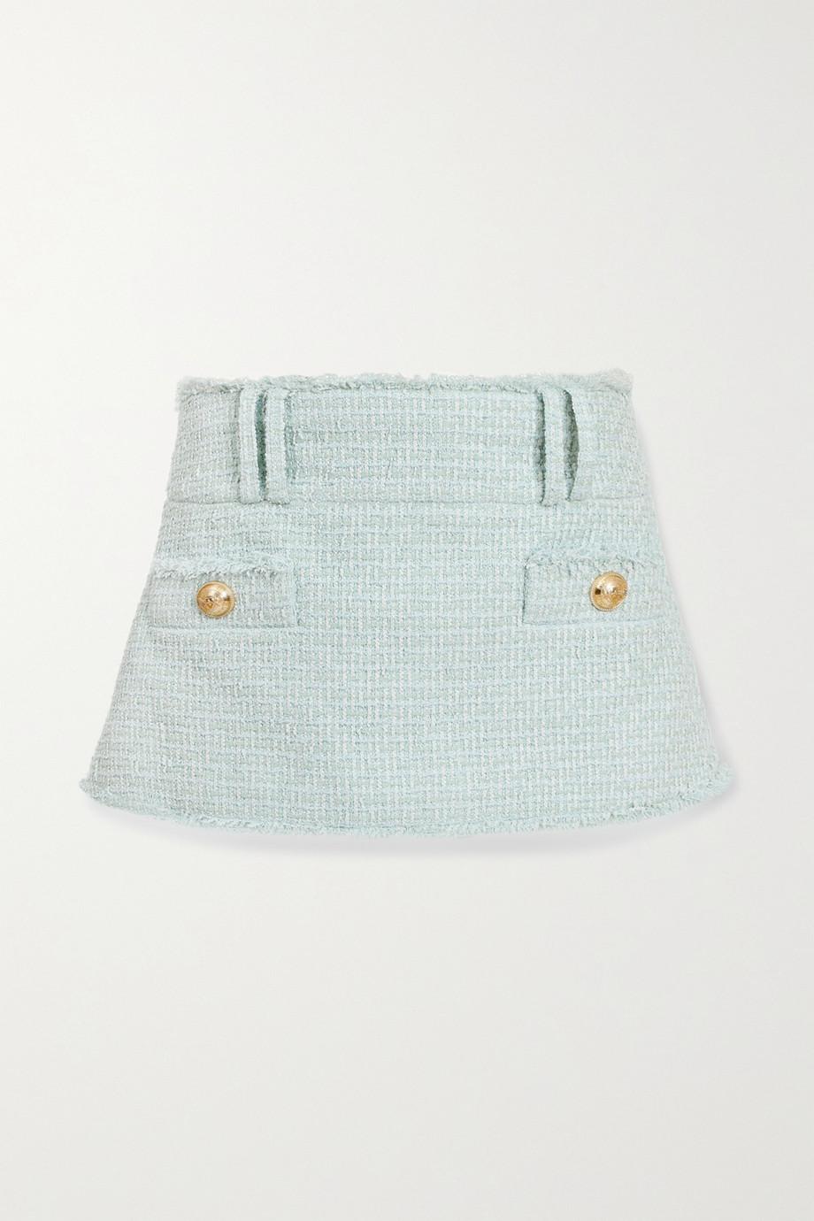 Balmain Button-embellished cotton-blend tweed mini skirt
