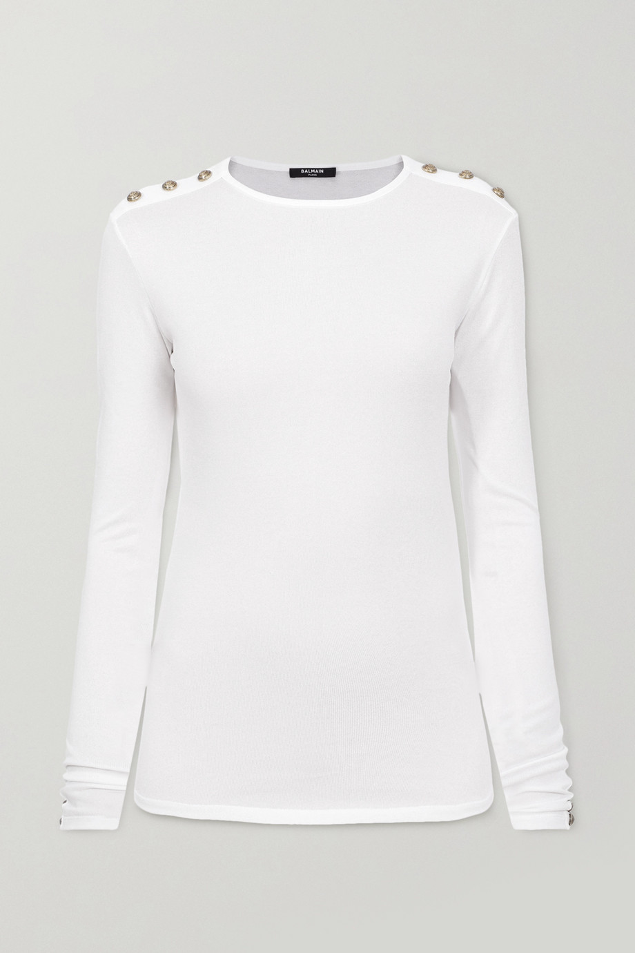 Balmain Button-embellished stretch-jersey top