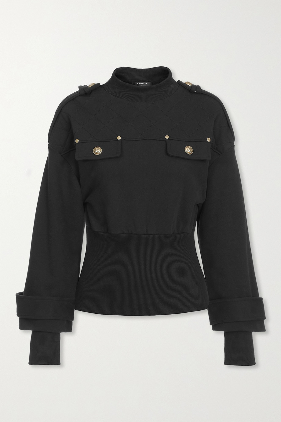 Balmain Button-embellished quilted jersey sweatshirt