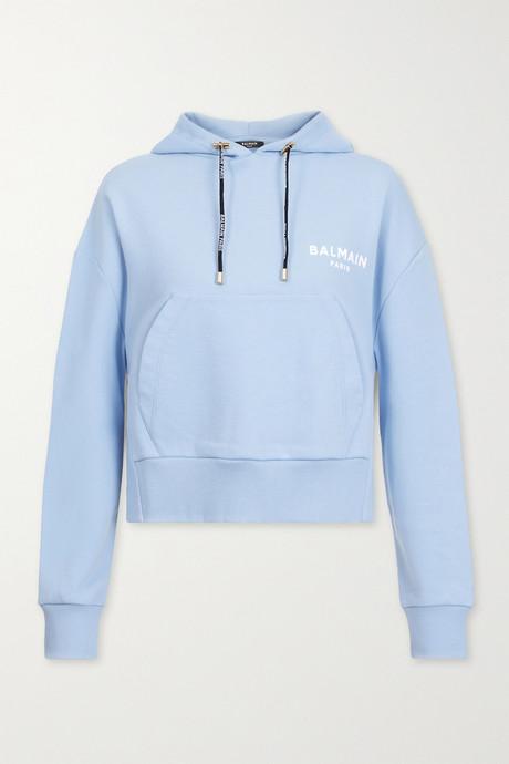 Light blue Cropped flocked cotton-jersey hoodie | Balmain G216c7