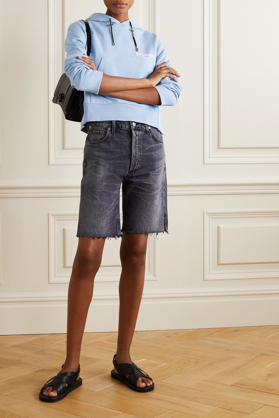 Balmain 植绒纯棉平纹布短款帽衫