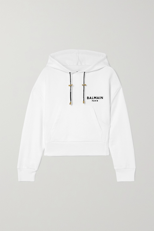 Balmain Cropped flocked cotton-jersey hoodie