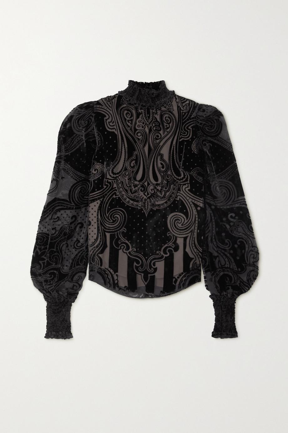 Balmain Shirred devoré-velvet blouse