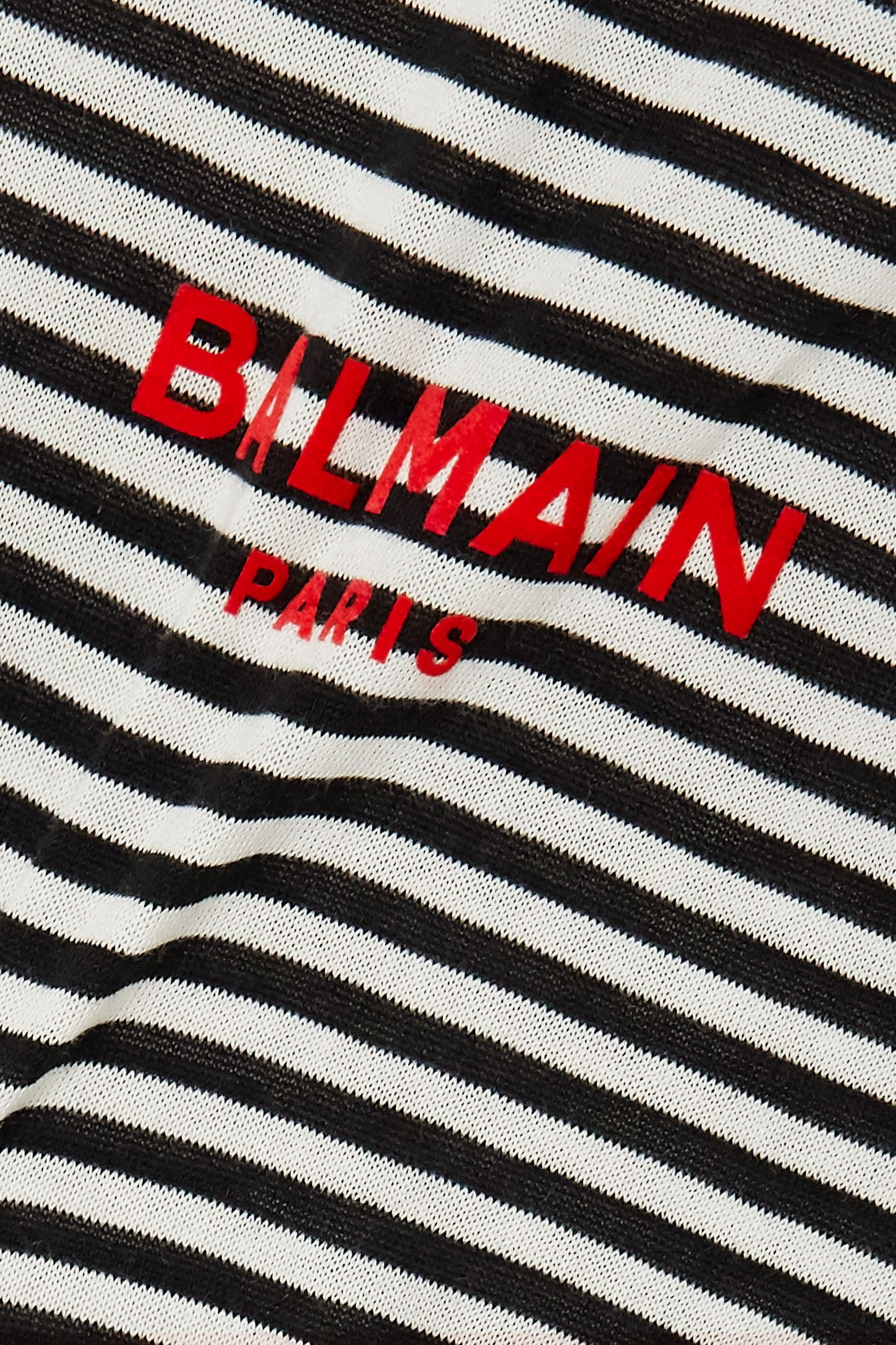 Balmain Button-embellished printed cotton-jersey T-shirt
