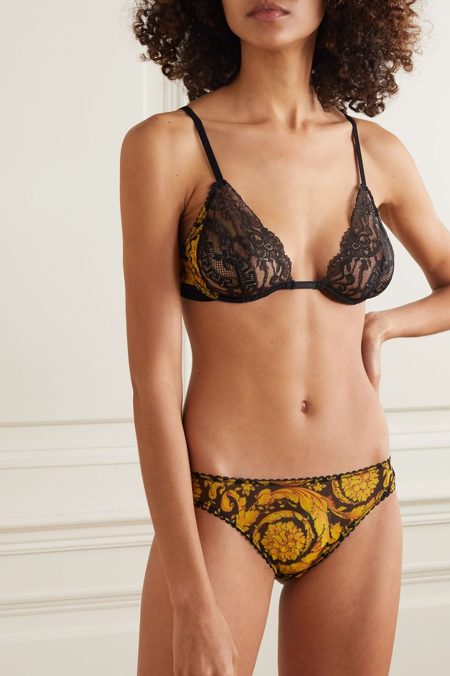 Versace Printed stretch-mesh and lace underwired soft-cup bra