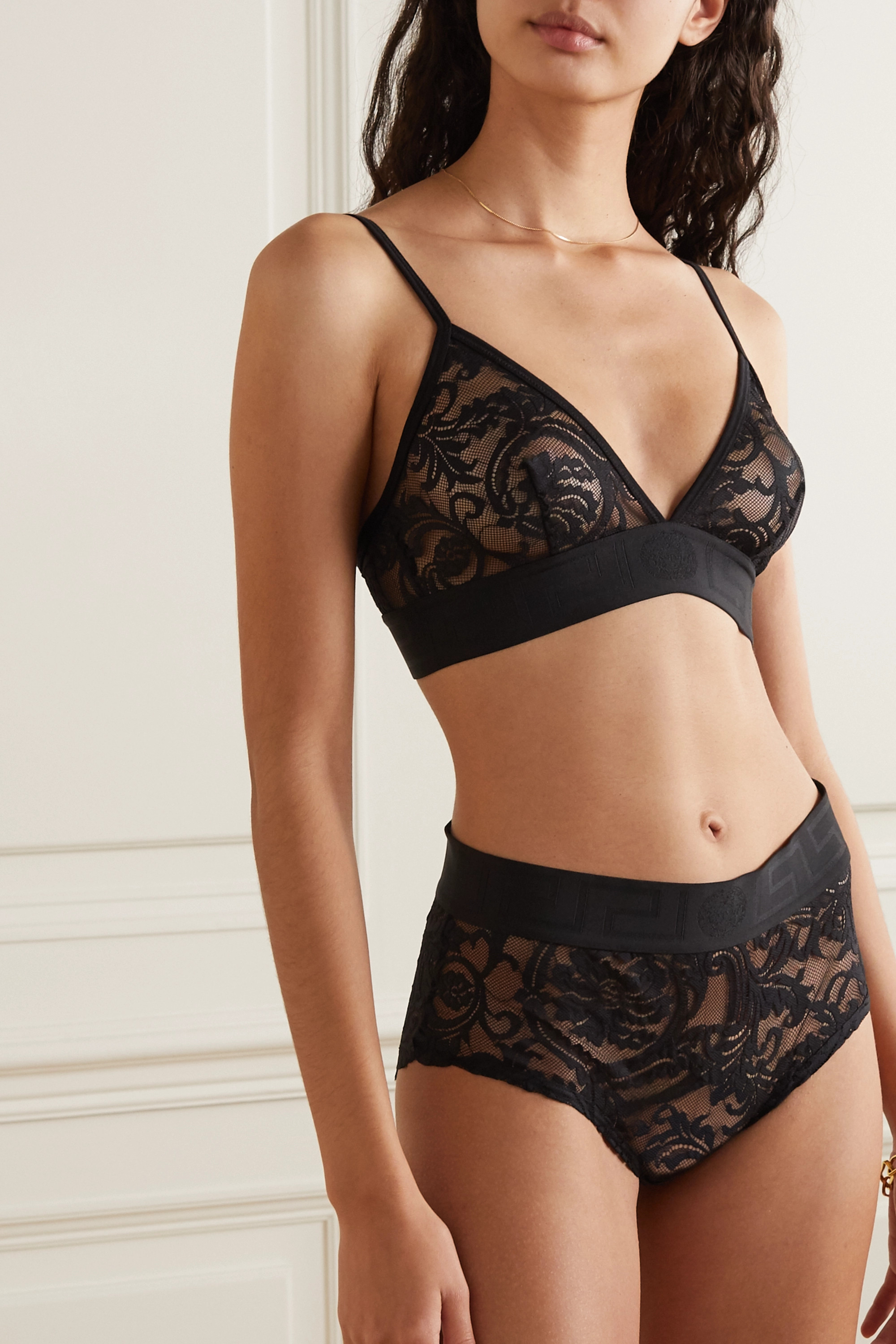 Versace Jacquard-trimmed stretch-lace soft-cup triangle bra