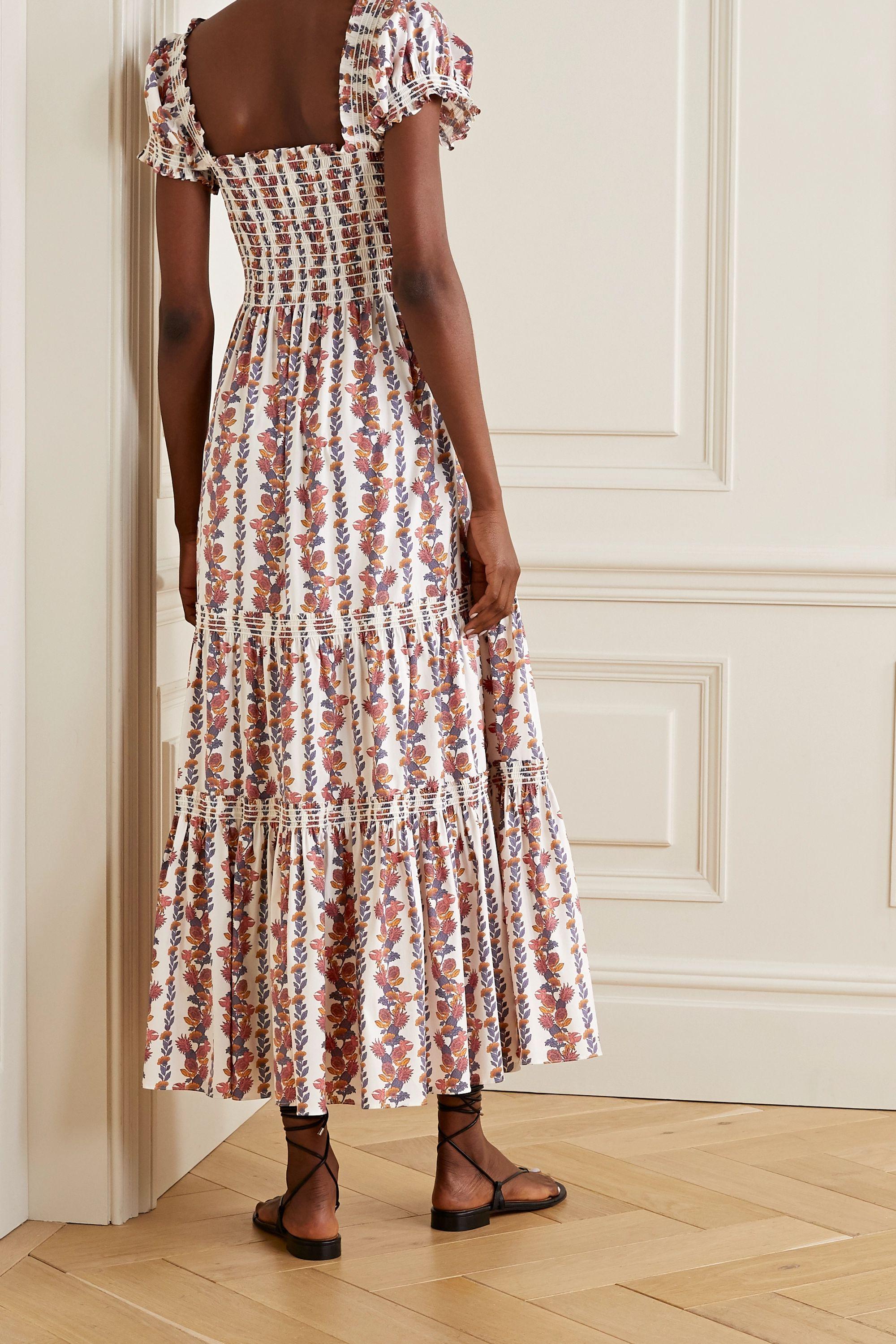 Tory Burch Smocked floral-print cotton-blend midi dress