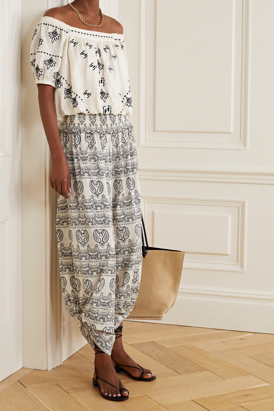 Tory Burch Off-the-shoulder embroidered linen top