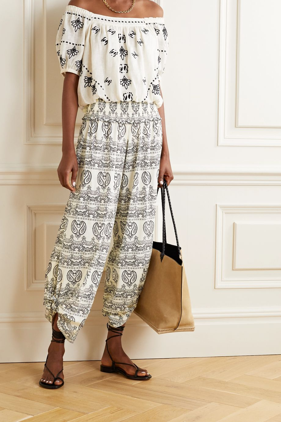 Tory Burch Shirred paisley-print cotton-voile pants
