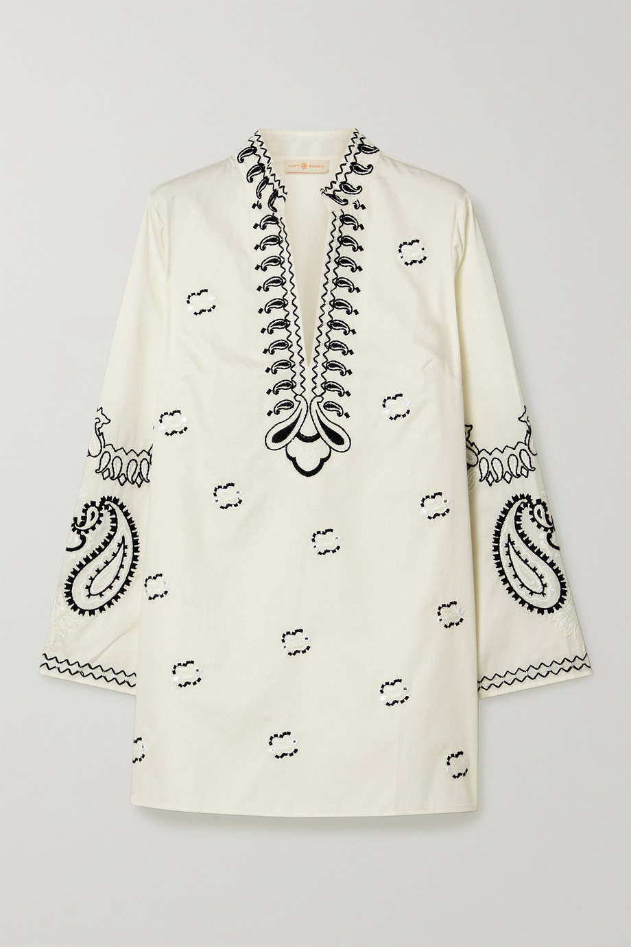 Tory Burch Sequin-embellished embroidered cotton-poplin tunic