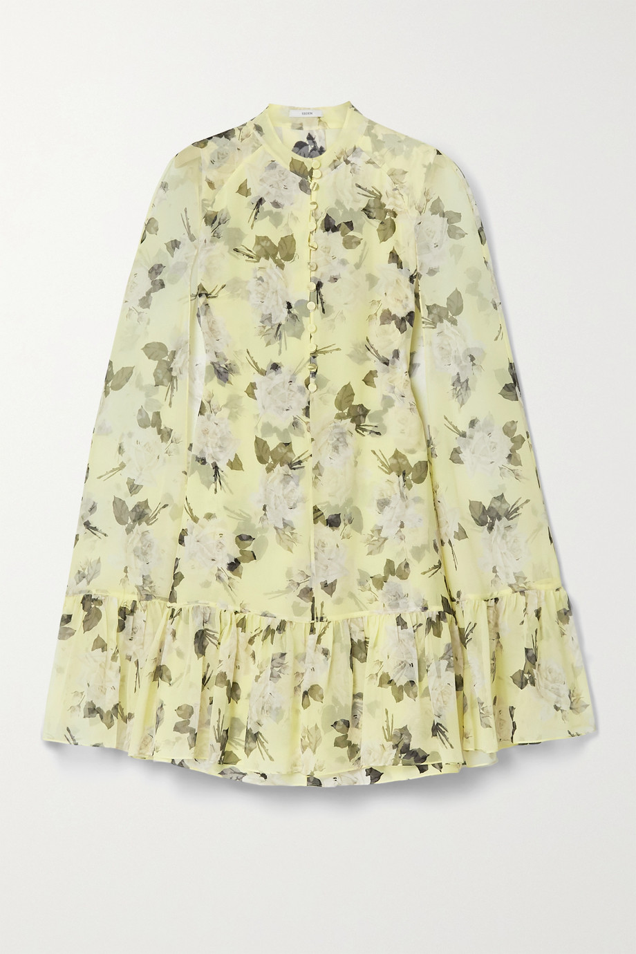 에르뎀 Erdem Constantine cape-effect floral-print silk-voile mini dress,Pastel yellow