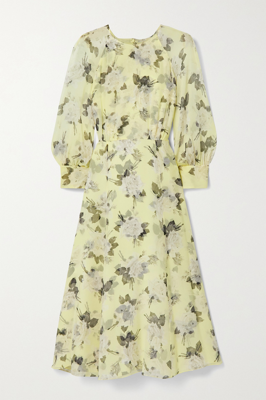 에르뎀 Erdem Yusra floral-print silk-voile midi dress,Pastel yellow