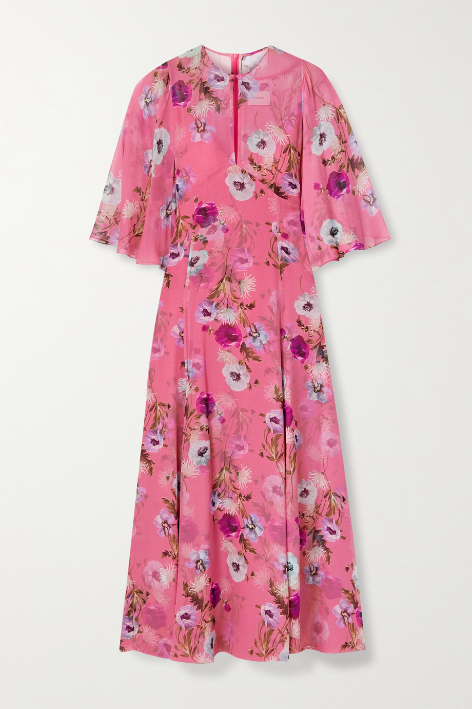 에르뎀 Erdem Alcie cape-effect floral-print silk crepe de chine midi dress,Pink
