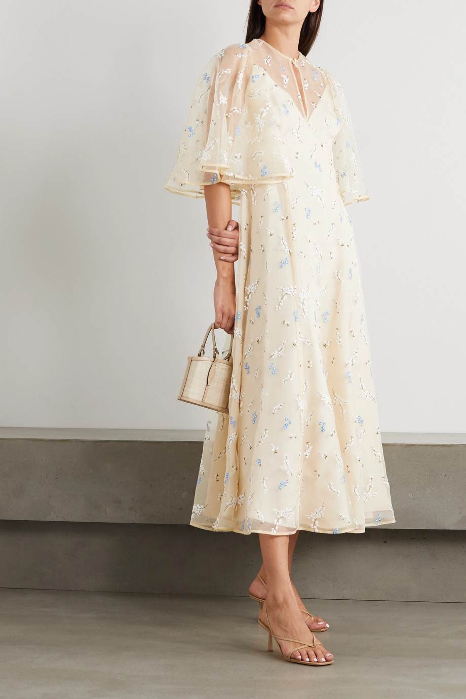 Erdem Alcie embroidered silk-organza midi dress