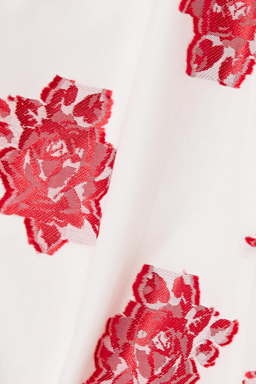 White Marguerite Floral-print Fil Coupé Poplin Wrap-effect Midi Dress   Erdem