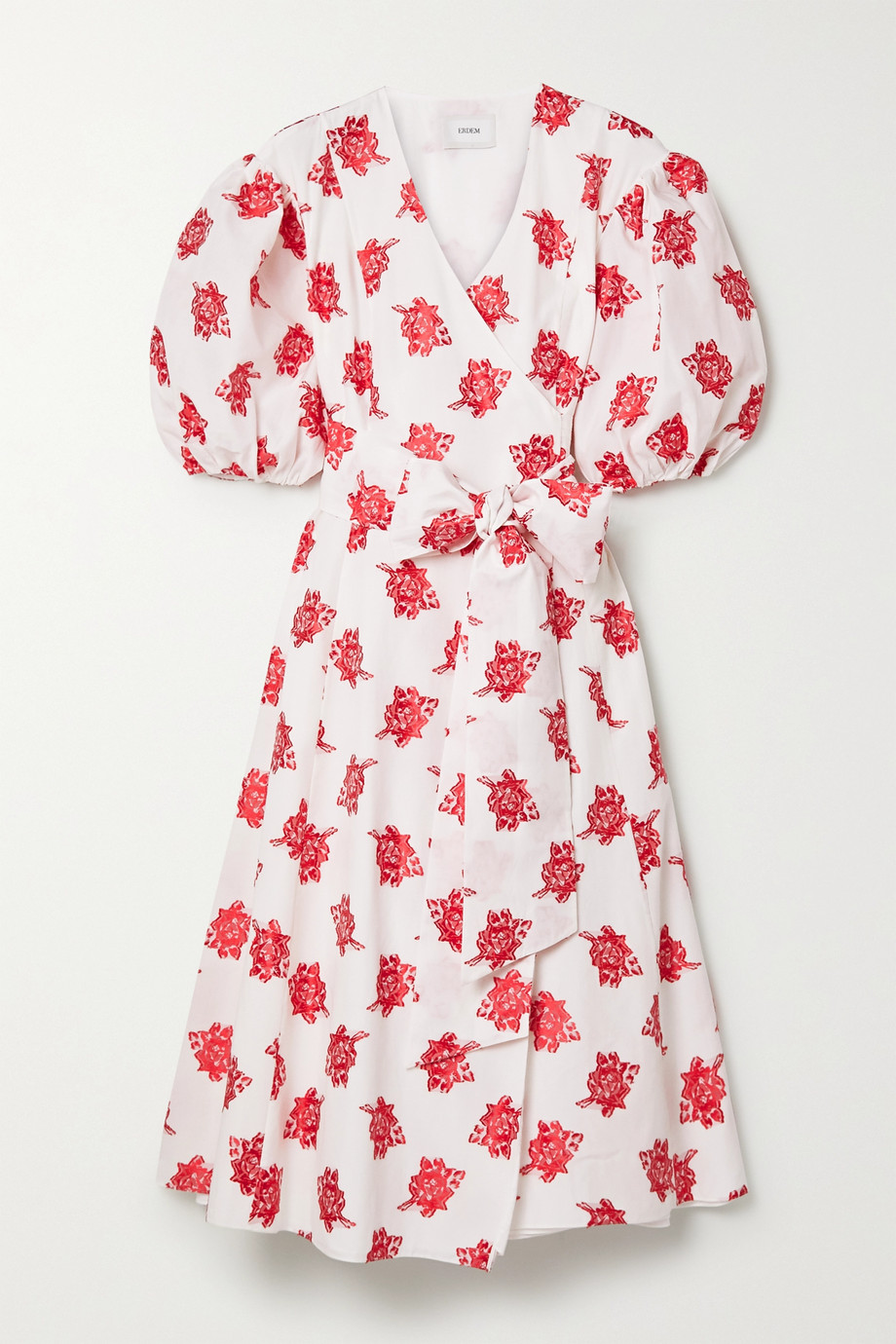 에르뎀 Erdem Marguerite floral-print fil coupe poplin wrap-effect midi dress,White