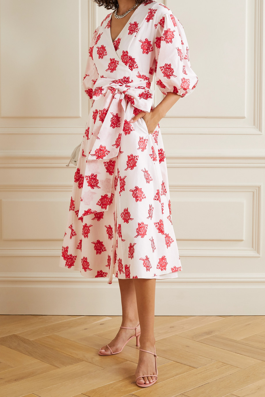 Erdem Marguerite floral-print fil coupé poplin wrap-effect midi dress