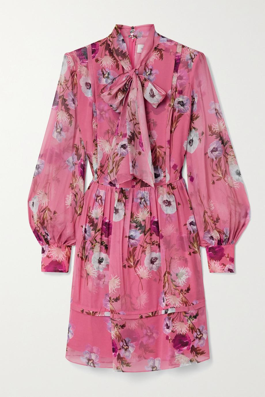 Erdem Remy pussy-bow floral-print silk crepe de chine mini dress