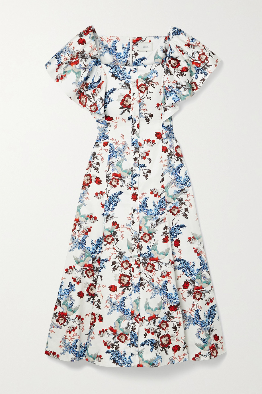 Erdem Maudie Midikleid aus bedruckter Baumwollpopeline mit Bindegürtel