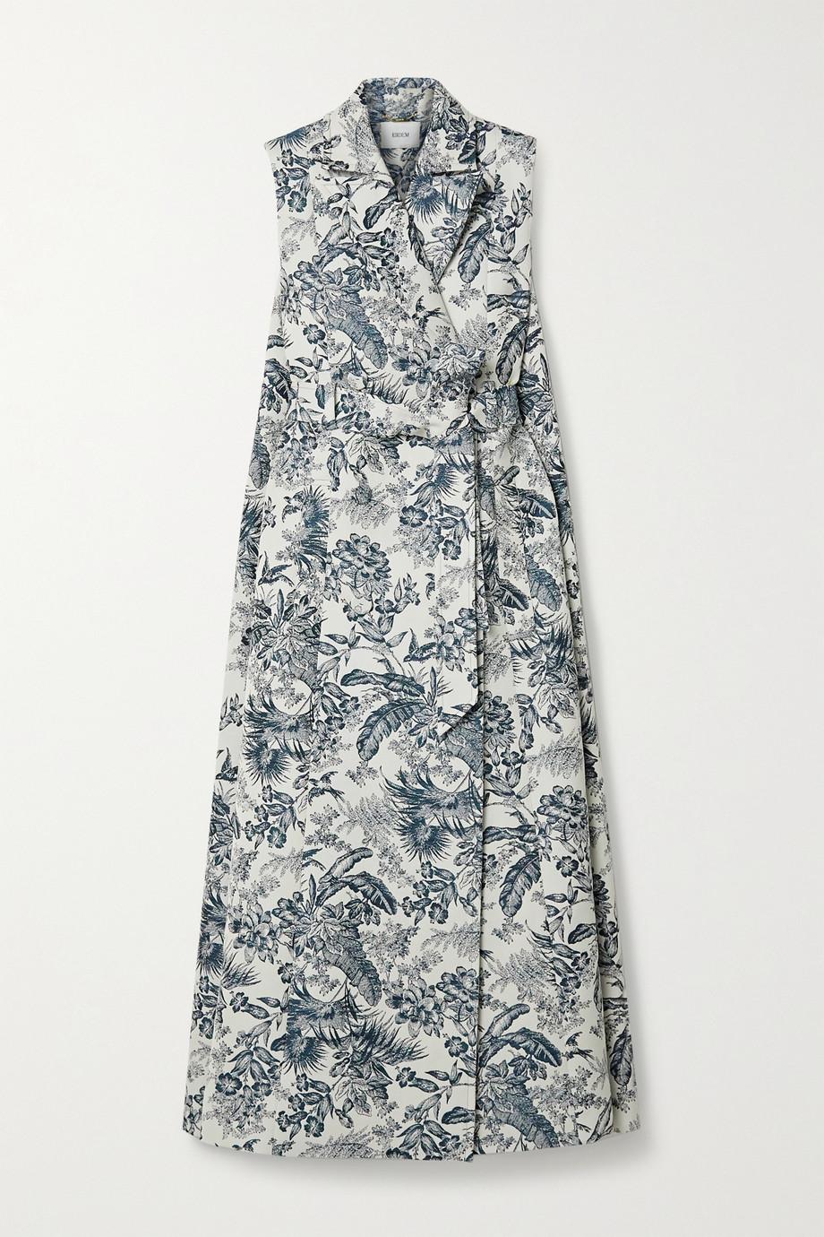 Erdem Ezra ärmelloser Mantel aus Jacquard mit Blumenmuster und Bindegürtel