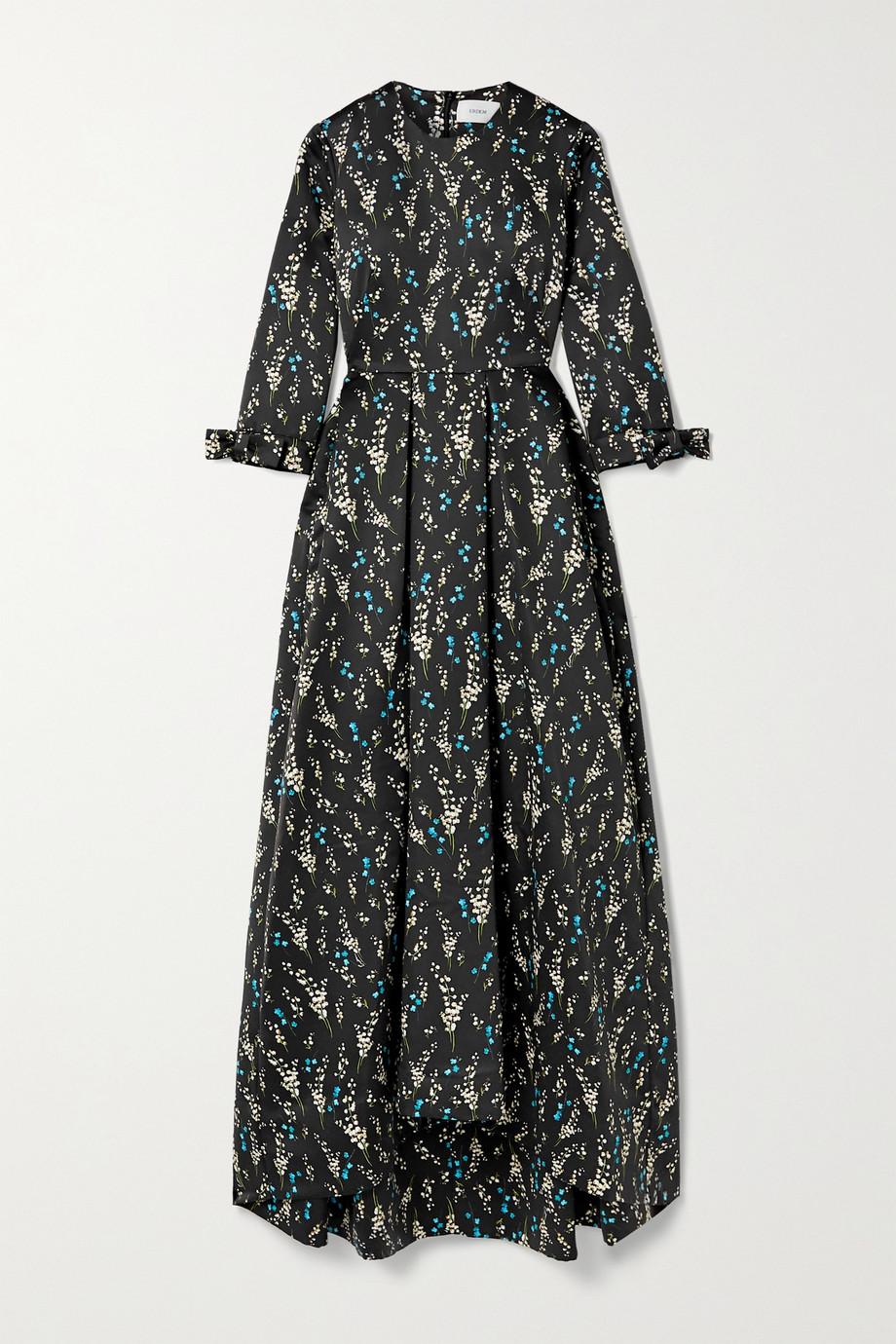 Erdem Helenium asymmetrische Robe aus glänzendem Twill mit Blumenprint und Falten