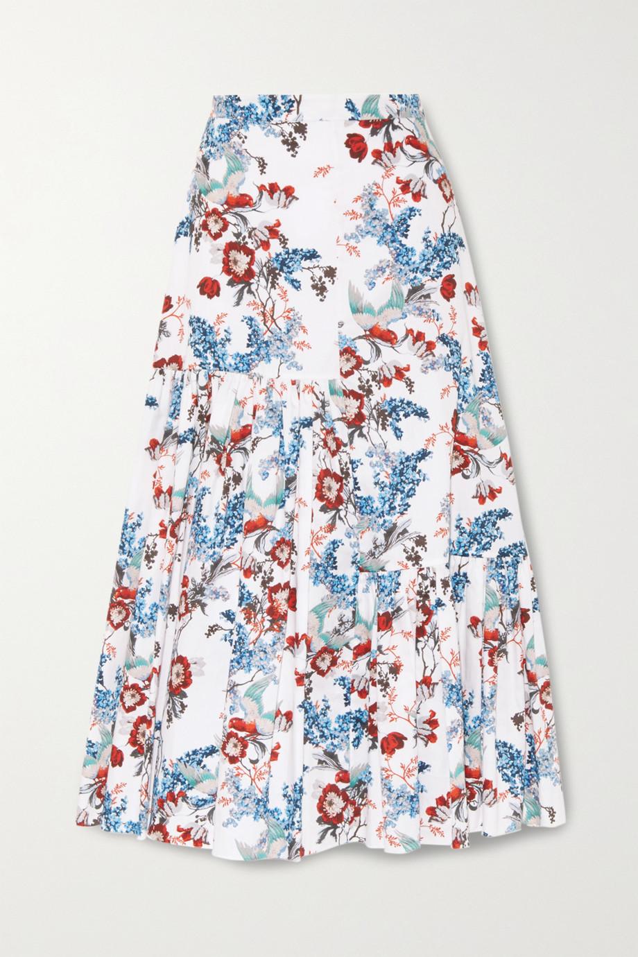 Erdem Gaura 层接式花卉印花纯棉府绸中长半身裙