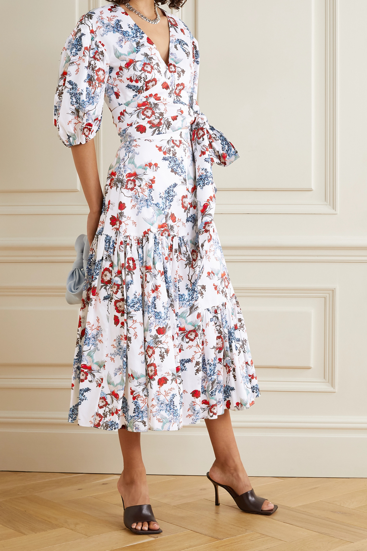 Erdem Gaura tiered floral-print cotton-poplin midi skirt