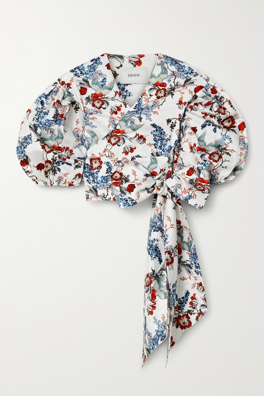 Erdem Cyllene cropped floral-print cotton-poplin wrap top