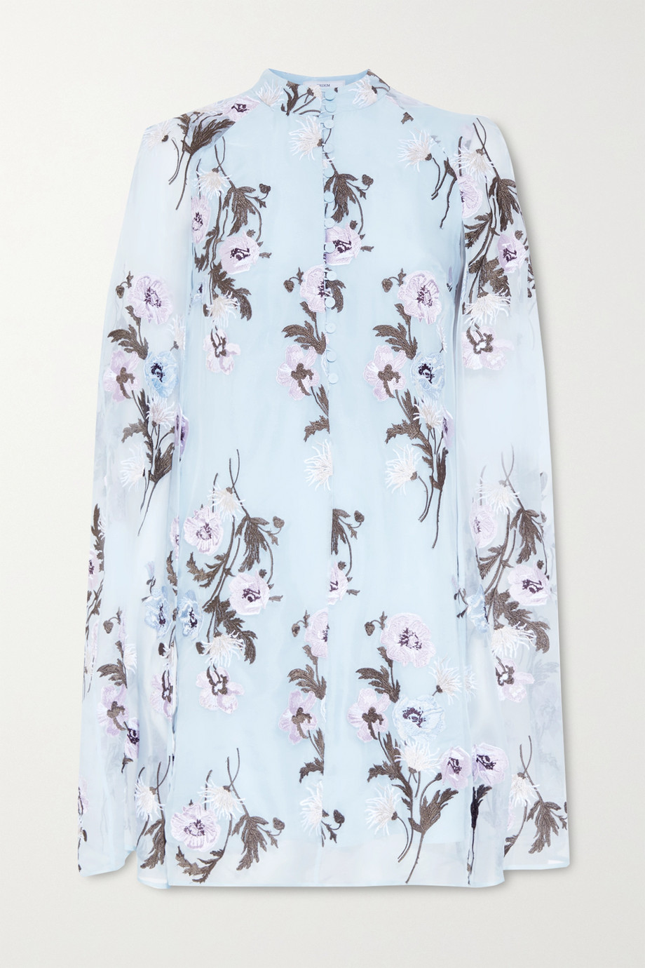 에르뎀 Erdem Caelyn cape-effect embroidered silk-organza mini dress,Sky blue
