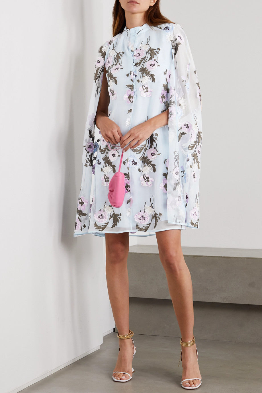 Erdem Caelyn cape-effect embroidered silk-organza mini dress