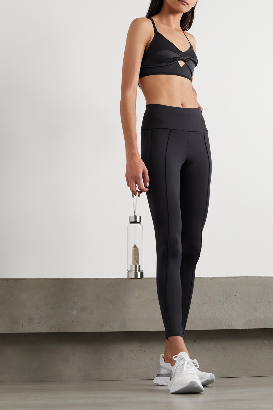 Vaara Nica satin-trimmed stretch leggings