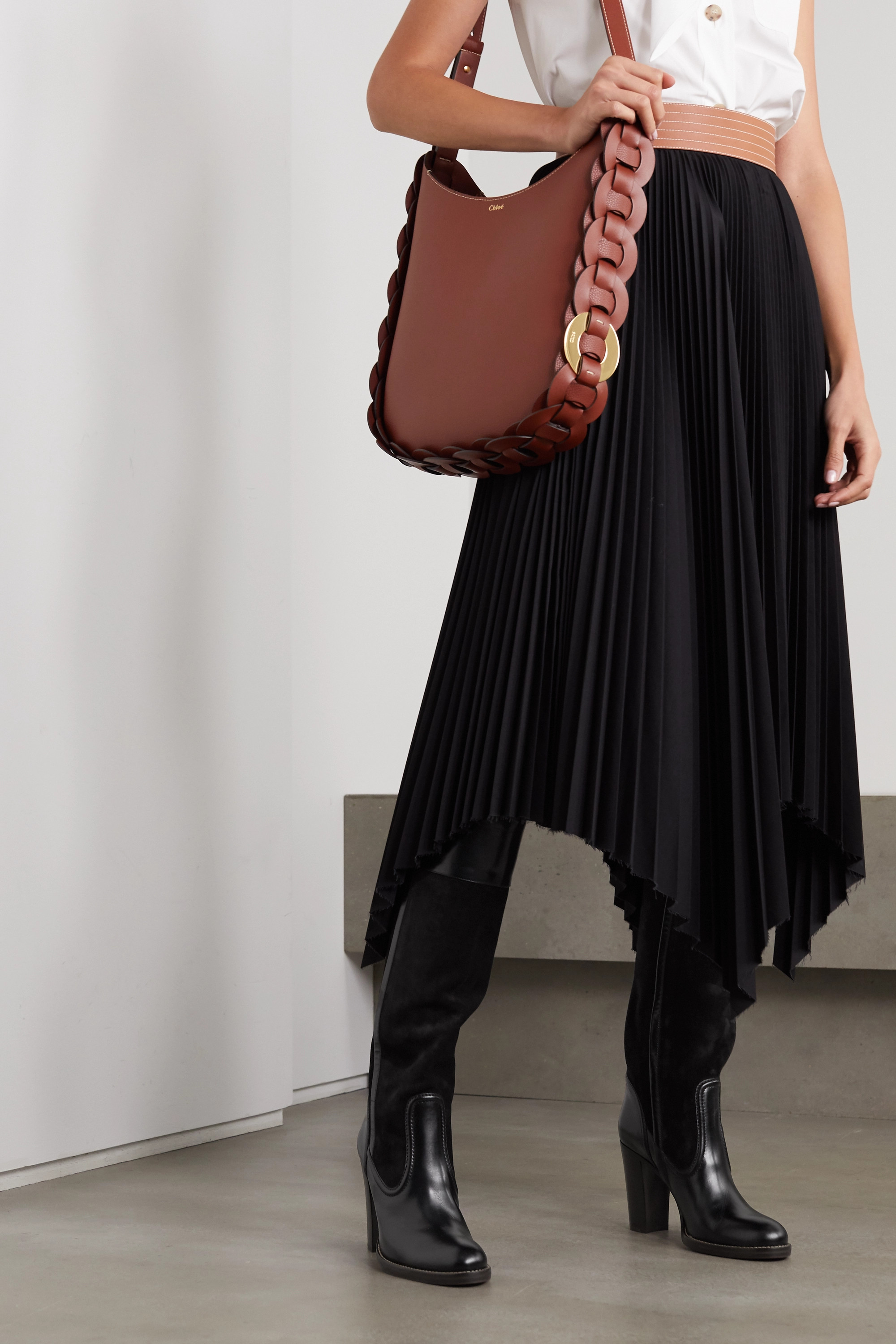 Black Emma leather and suede knee boots