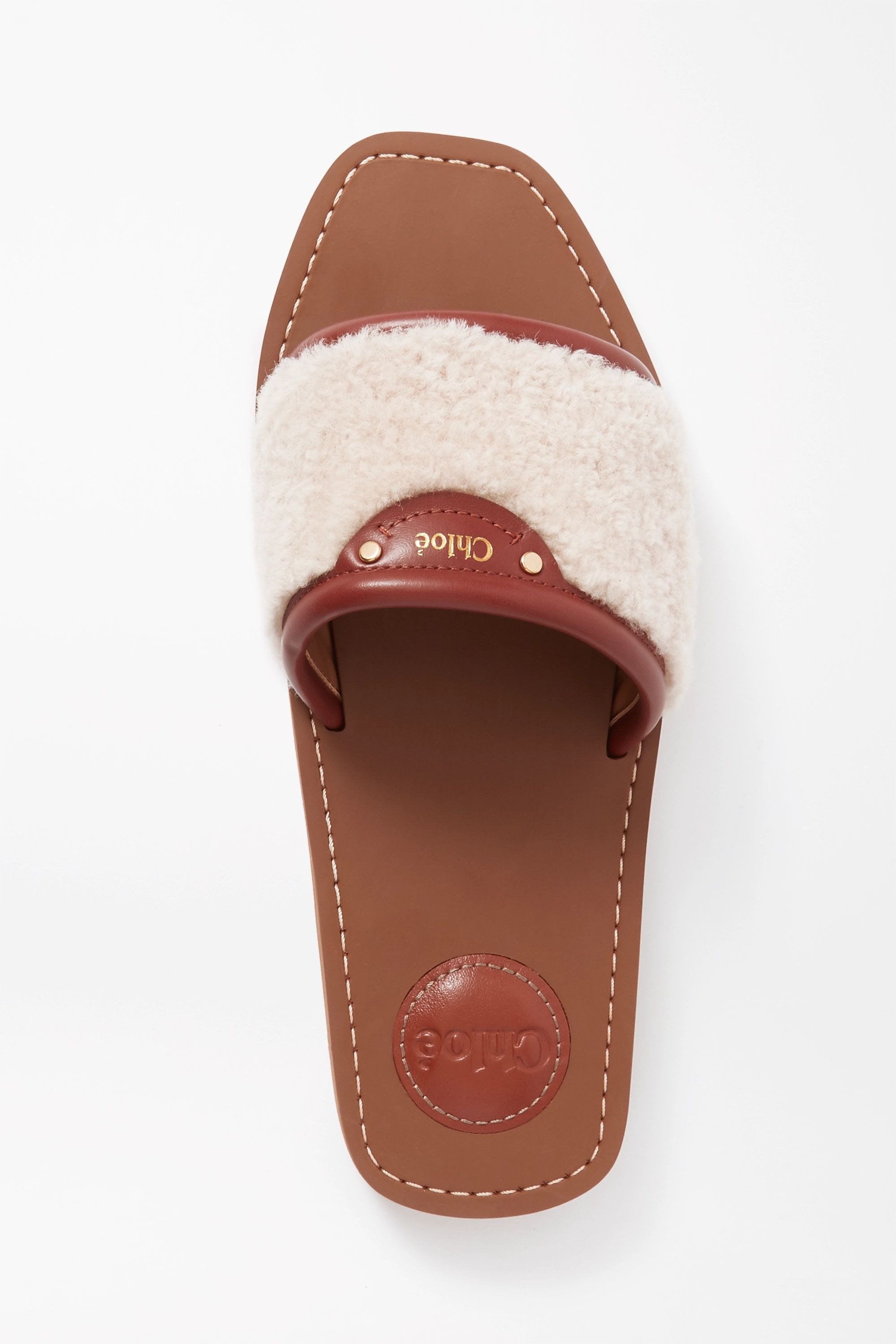 Chloé Woody leather-trimmed shearling slides