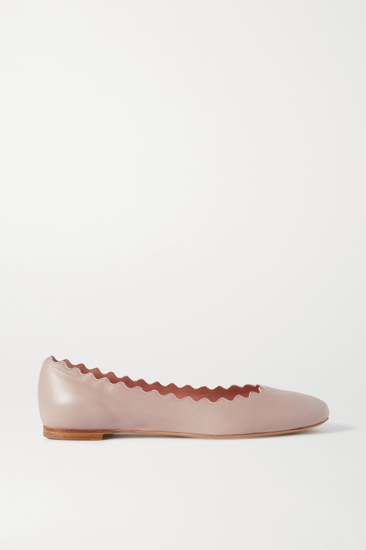 Beige Lauren scalloped leather ballet